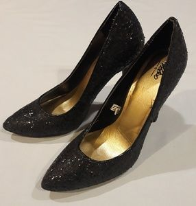Black sparkly high heels